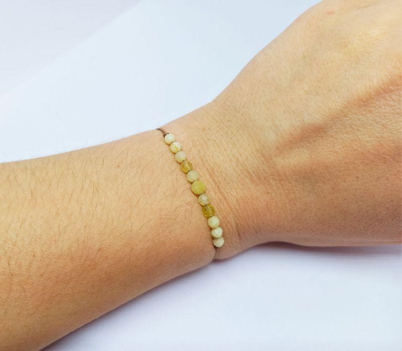 Bransoletka mocy: żółty opal - Bransoletka z kamieni naturalnych