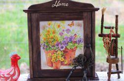 Sielska szafka na klucze, kwiaty polne