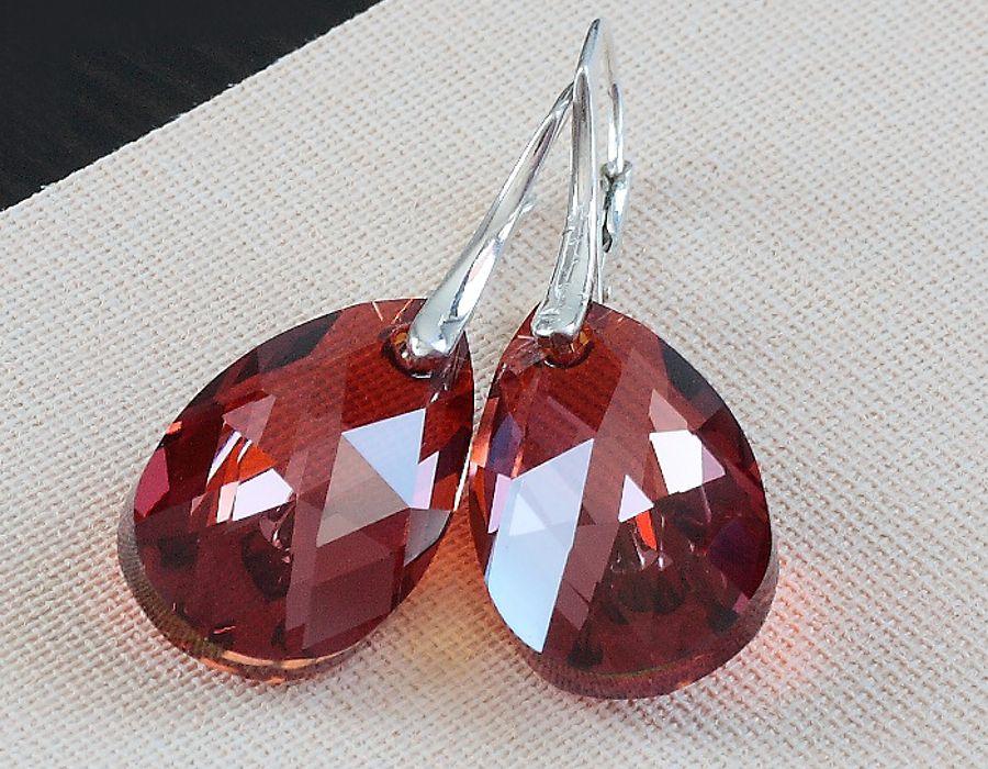Red Magma - kolczyki - srebrne kolczyki z kryształami