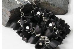 3997 długie kolczyki czarne kwiaty srebro