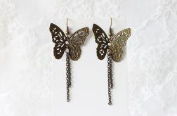 Kolczyki wiszące antyczne motyle z łańcuszkiem