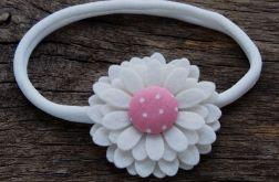 Opaska do włosów kwiatek filcowy PEONY PINK