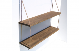 Półka podwójna na linach z drewna