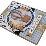 Niebieska z balonem kartka 18 urodziny - Niebieska kartka z balonem, melonik i muszka, kartka na 18 urodziny