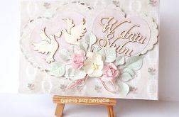 Kartka ślubna z serduszkami różowa 2