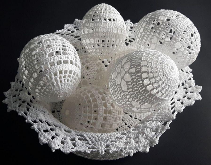 Koszyczek szydełkowy na jajka obwód 46cm