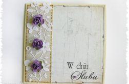 Kartka na ślub z fioletowymi różami