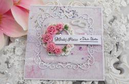Ślubna kartka w pudełku z okienkiem 23