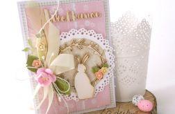 Różowy królik - kartka wielkanocna