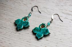 Flos - kolczyki z ceramiki - turkusowe kwiaty
