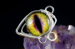 Smocze oko, srebrny pierścionek z okiem żółty