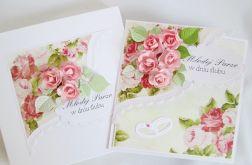 Kartka MŁODEJ PARZE z różowymi różami