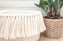 Koszyk BOHO ze sznurka ,naturalny,XL.