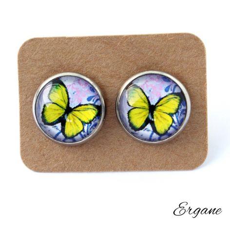 Kolczyki motyle żółto-fioletowe