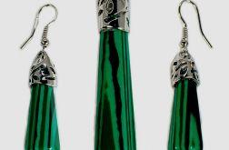 Malachit zielony, piękny zestaw biżuterii