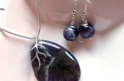 Ametyst naturalny i srebro, komplet biżuterii