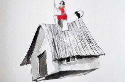 ''Latający domek'' akwarela artystki A. Laube