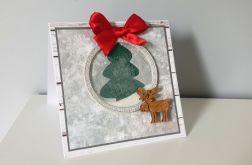Kartka Boże Narodzenie handmade z łosiem i ch