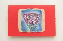 Kartka czerwona z kwiatkiem 10