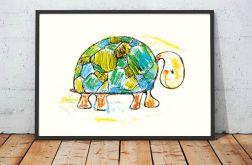 21x30cm Żółw ilustracja do pokoju dzieci