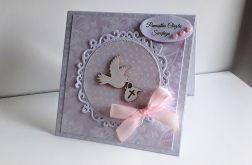 Kartka na Chrzest różowa z gołąbkiem