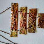 Naszyjnik z miedzi na łańcuszku  - Piękna kolorystyka naszyjnika przyciąga uwagę