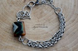 Bransoletka serce, agat, wire wrapping, stal