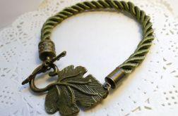 Bransoletka z ozdobnym listkiem (zielona)