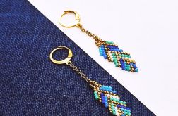 Piórka -niebieski i złoto-