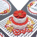 Box na urodziny z tortem złoto-czerwono-czarny - Złoto-czerwono-czarny box na 18 urodziny