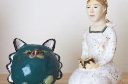 Dziewczyna i kot - figurki ceramiczne
