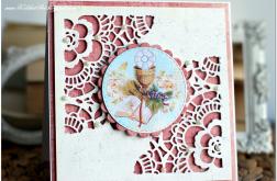 Ażurowa kartka na Komunię dla dziewczynki