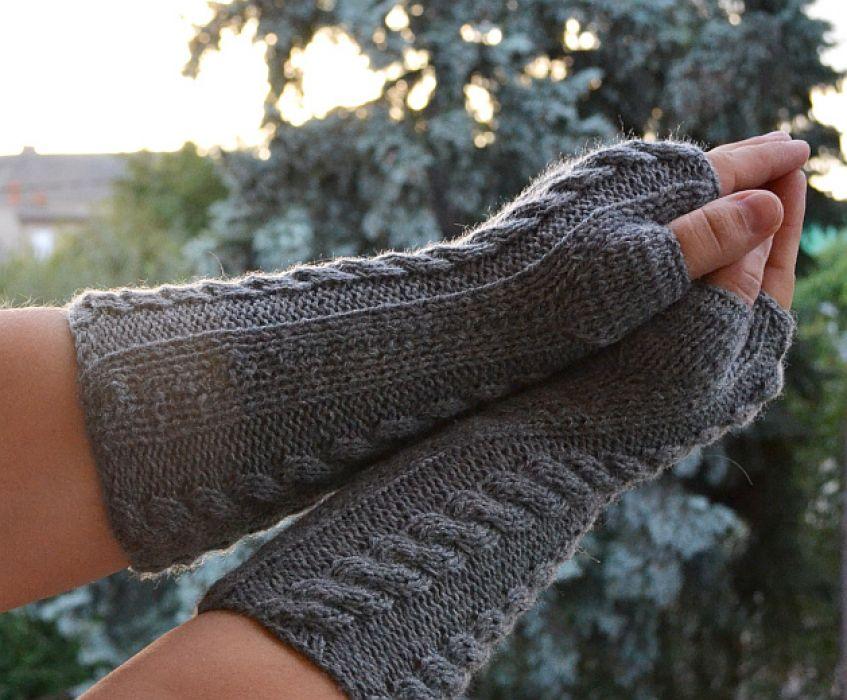 Szare rękawiczki mitenki  - długie