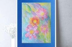 Rysunek kwiaty na granatowym tle nr 10