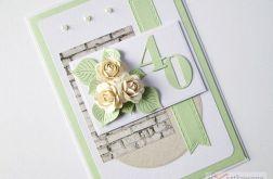Kartka URODZINOWA zielono-beżowa