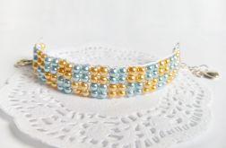 Bransoletka tkana - złoto + błękit