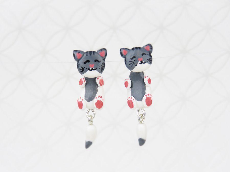 Kolczyki kotki - wkrętki wiszące