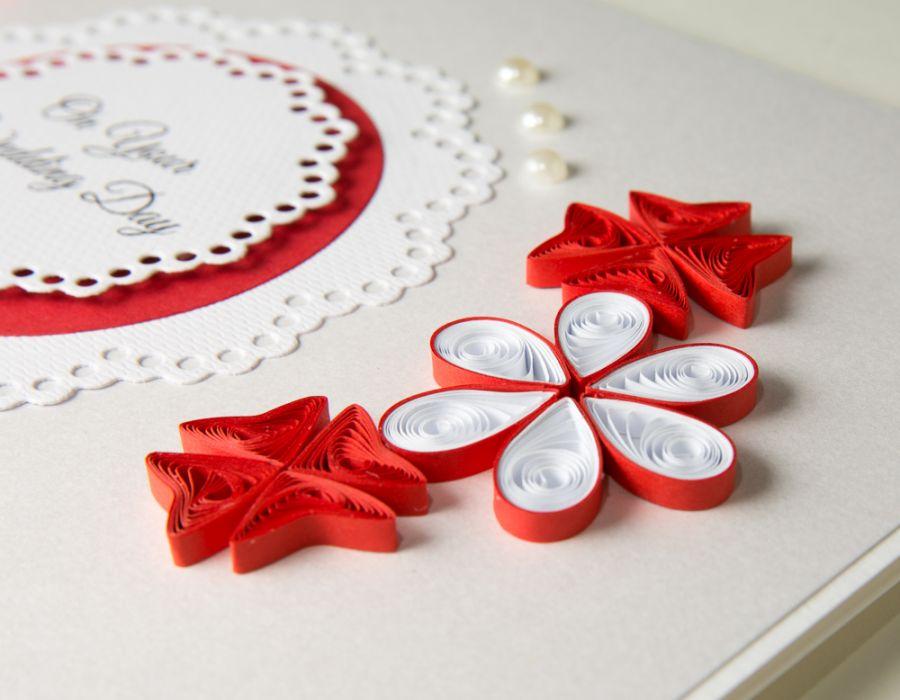 Rewelacyjny Kartka ślubna, czerwona, quilling - Paper Paradise IM79