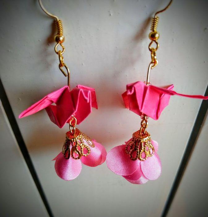 Kolczyki origami pink little bird - Z przodu