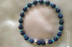Bransoletka z naturalnego lapis lazuli,srebro
