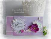 Kopertówka w fioletach na 18 urodziny