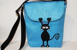 Młodzieżowa torebka z kotkiem niebieska