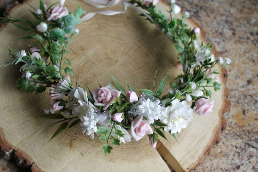 wianek do włosów różowo-biały - wianek z kwiatów