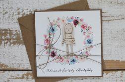 Kartka na chrzest z kopertą - życzenia i personalizacja D1