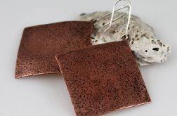 Piaskowe kwadraty - miedziane kolczyki