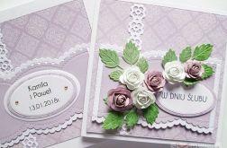 Kartka W DNIU ŚLUBU fioletowo-biała #2