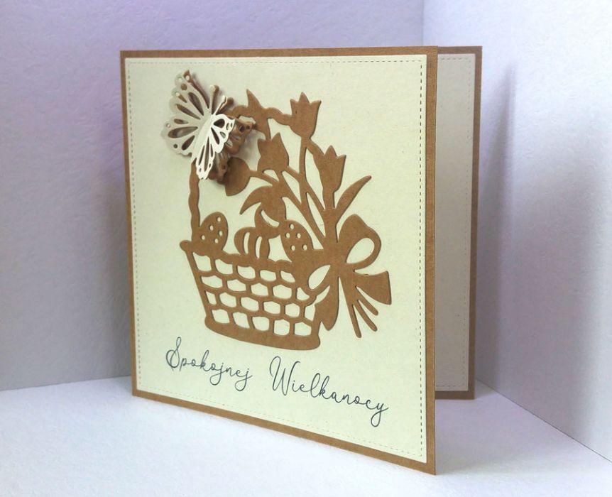 Kartka wielkanocna z koszyczkiem eko - kartka