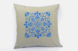 Poszewka na poduszkę motyw ludowy błękit