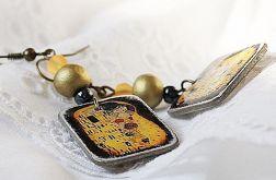 Klimt Kochankowie kolczyki decoupage vintage