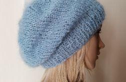 Uroczy błękit moherowa czapka